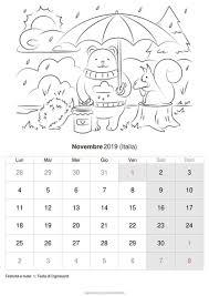 Calendario Novembre 2019 Da Stampare Italia