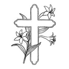 cross pictures to color. Modren Cross Cross Covered With Lilies Coloring Page And Pictures To Color MomJunction