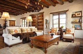 heavy wooden beams and brick walls accentuate the southwestern style in the room design