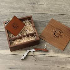 engraved wood groomsmen gift box set cork engraved flask leather wallet