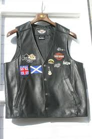 harley davidson leather vest size l