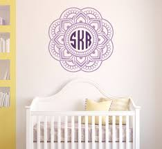 mandala monogram wall decal nursery wall decals mandala wall decals custom monogram wall decor monogram sticker