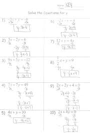 formulas handout solve the equations for y