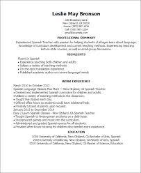 Resume In Spanish