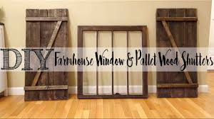 diy pallet wood shutters with matching farmhouse window