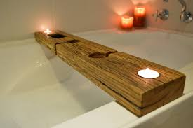 bath caddy tray recycled wood copper whotheens