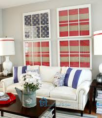 Charming Of The Red White And Blue With Diy Flags Framed Artwork On Patriotic  Bedroom Decor Design