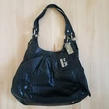 Coach Madison Embossed Maggie Exotic Black Leather