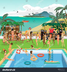 Party outdoor swimming pool on the beach in the tropics. Vector cartoon  flat illustration.
