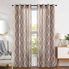 Curtain for the living room Farmhouse Jinchan Linen Curtains Flax Linen Blend Textured Curtain Moroccan Tile Print Window Curtain Drapes Set Amazoncom Window Curtains For Living Room Amazoncom