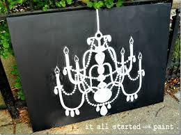 chalk art chandelier hand drawn on canvas final