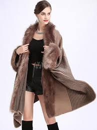faux fur coat women cape coat khaki long sleeve winter coat no 1