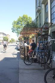 I love a coffee spot that combines a great blend with a great experience. San Francisco Four Barrel Coffee Parklet Location 375 Valencia St Mission On Warm Days This Parklet Bustles With Ice San Francisco Design Barrel Coffee