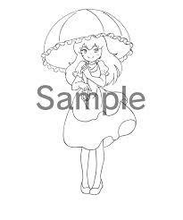 ぬりえ 日傘 無料イラスト素材素材ラボ