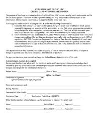 Credit Consent Form 19 Printable Credit Card On File Authorization Form Template