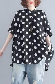 Dotted Tops Designs Baggy Black Pure Cotton Tops Trendy Plus Size Linen Maxi T