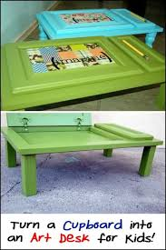 instead of throwing them away why not recycle cupboard doors into art desk for the little ones