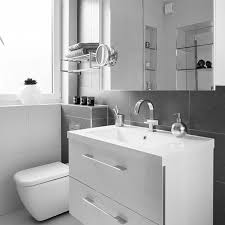 inspirational grey bathroom tile ideas for wall added white single washbasin vanity over mirror cabinet in small grey bathroom designs