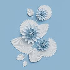 3d render paper lotus flowers blue wall decoration border white water lily leaves design elements isolated on white background