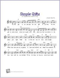simple gifts free sheet guitar piano lead sheet digital print