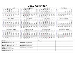 One Page 2019 Printable Calendar With Holidays 2019