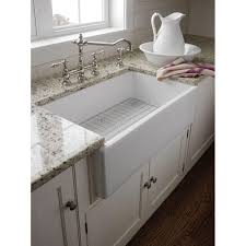 30 inch white fireclay farmhouse sink offset drain fcfs30 with grid