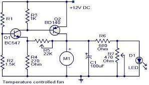 temperature controlled fan circuit diagram electronic circuits temperature controlled fan circuit diagram