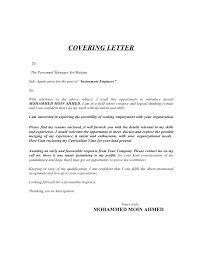 Electronics Engineering Cover Letter Sample Instrumentation Engineer