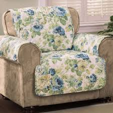 English Floral Sky Blue Quilted Furniture Protectors &  Adamdwight.com