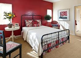 black and red bedroom. Cottage Style Bedroom With A Gorgeous Red Backdrop [From: Design InSite] Black And