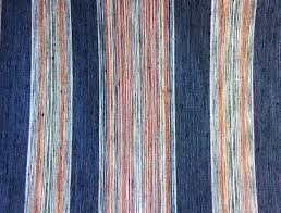 Small Picture Woven Upholstery Fabric by the Yard Indigo Stripe Orange Green