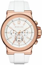 men s michael kors dylan white silicone chronograph watch mk8492