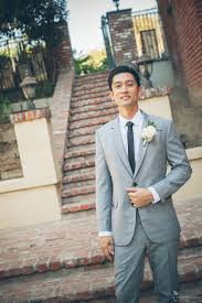 Groom Light Grey Suit Dapper California Groom Wears Light Gray Suit