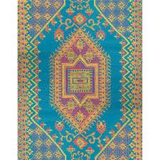 oriental turkish aqua outdoor mat 5ft x 8ft