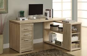 com monarch specialties hollow core left or right facing corner desk natural kitchen dining