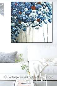 blue flower wall art original art abstract blue flowers painting textured red white blue navy modern blue flower wall art  on navy blue flower wall art with blue flower wall art 3 wall painting art picture blue flowers wall