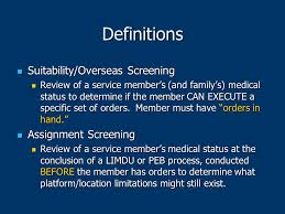 Duty Status Processing And Overseas Suitability Screening Ppt