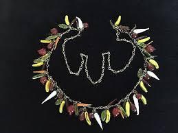 antique vintage hand blown venetian murano glass fruit salad necklace