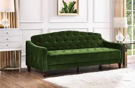 Vintage couch Orange Novogratz Vintage Tufted Sofa Sleeper Review Forever Vintage Rentals Novogratz Vintage Tufted Sofa Sleeper Review Popsugar Home