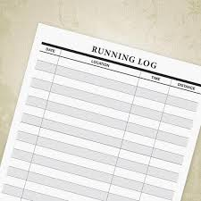Running Log Printable For Runners Tracker Form Exercise Etsy