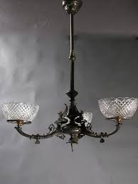 3 light neo grec egyptian revival gas chandelier