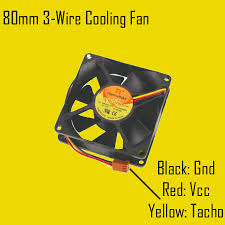 wire cooling fan monitor circuit 80mm 3 wires cooling fan