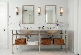 traditional bathroom lighting. Decoration Ideas. Agreeable Decorating Ideas Using Cylinder White Wall Lamps And Rectangular Brown Mirrors Also Traditional Bathroom Lighting