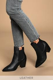 Utah Black Leather Pointed Toe Ankle Booties