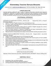 Objective For Teaching Resume Elementary School Resume Substitute Elementary Teacher Resume 77