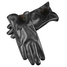 details about women screen touch glove outdoor winter warm fleece leather driving gloves black