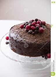 Homemade Fresh Chocolate Birthday Cake With Organic Frozen Berries