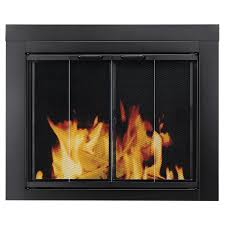 pleasant hearth ascot black small bi fold fireplace doors with clear tempered glass