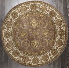 rugsville traditional antique fl persian purple ivory wool round rug 244x244