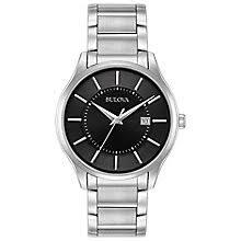 men s bulova watches h samuel bulova men s black dial stainless steel bracelet watch product number 5316588